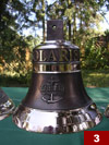 A nautical bell with a name of a yacht (21cm x 21,5cm)